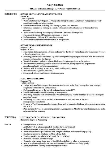 fund administrator resume samples velvet jobs