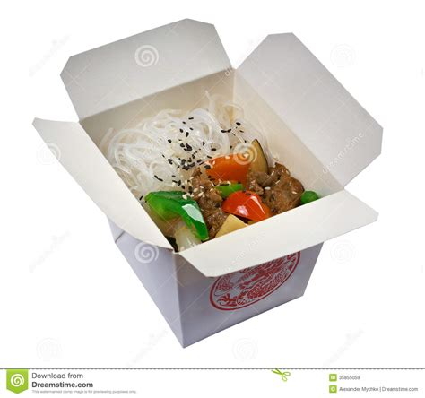cuisine box rice noodles and oyster sauce stock image
