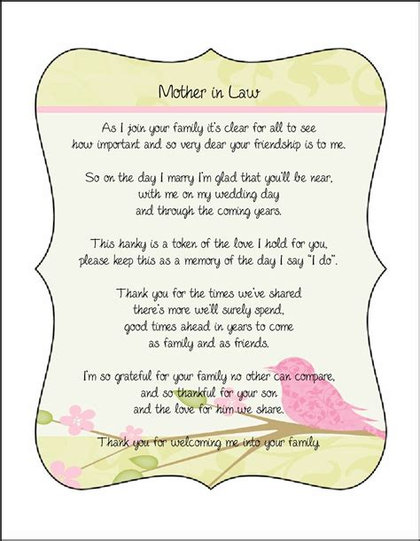 mother  law poem card great addition   personalized
