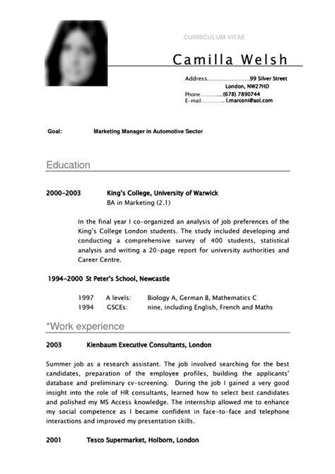 curriculum vitae layout template cv template university student resume curriculum vitae