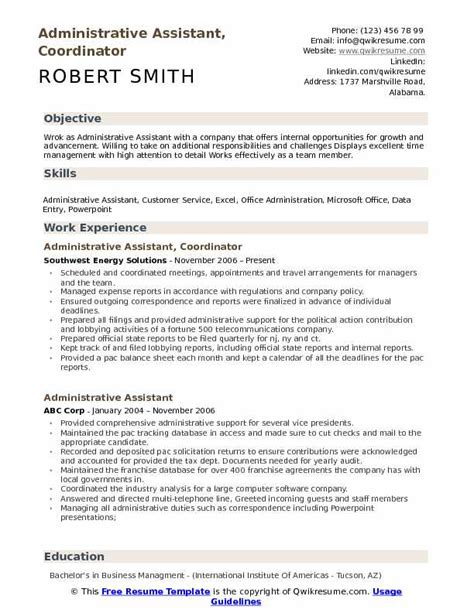 administrative assistant coordinator resume sles