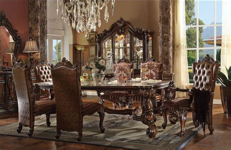Designing Royalty Inside Set Designs Crown by Acme 61115 Versailles Formal Dining Room Set In Cherry