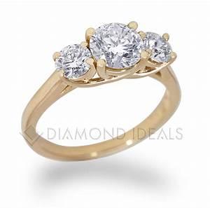 diamondidealscom three stone trellis engagement ring in With three gold wedding rings