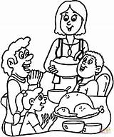 Dinner Coloring Pages Turkey Thanksgiving Eating Table Diner Sketch Printable Template Together Families Am Sheets Results Praying Categories sketch template
