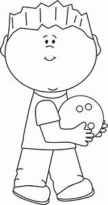 Black and White Boy with Bowling Ball Clip Art - Black and ...