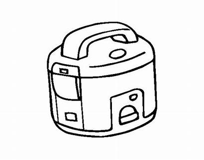Rice Coloring Cooker Drawing Pages Template Coloringcrew