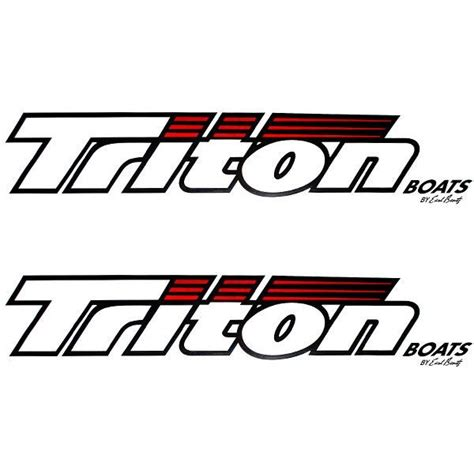 Triton Boats Logo by Triton 180300 White Black Vinyl Boat Decals Pair