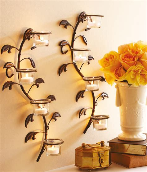 Hosley Wall Sconces, Glass Candle Holders With Free