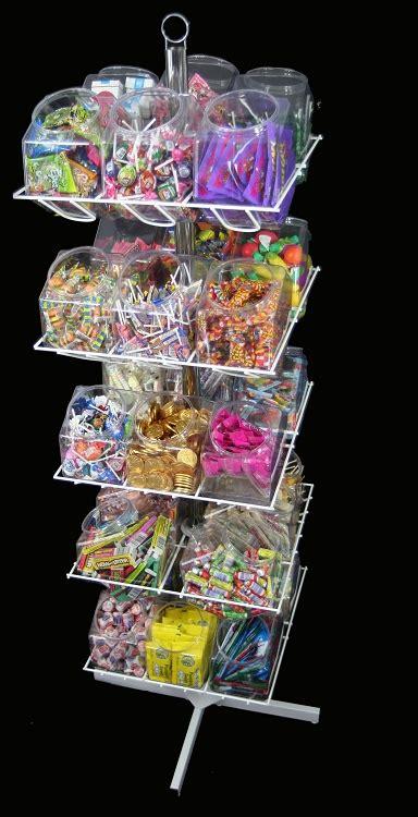 bucket rotating rack retail display impulse rack