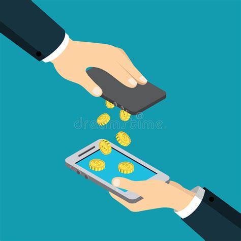 bureau de transfert d argent vecteur isométrique plat mobile de transaction de