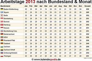 Arbeitstage 2017 Berechnen : anzahl arbeitstage 2013 in deutschland nach bundesland monat ~ Themetempest.com Abrechnung