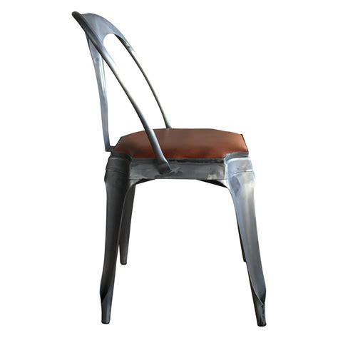 chaise en métal chaise style vintage industriel en métal et cuir demeure