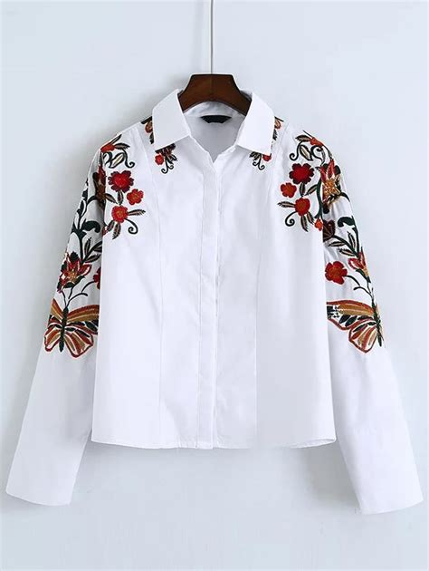 Embroidered Sleeve Shirt white flower embroidered batwing sleeve shirt romwe