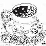 Beker Volwassen Stockillustratie Coco Mok Chocolademelk sketch template