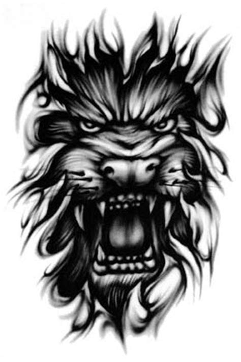 Grey Ink Feathers Tiger Head Tattoo Design