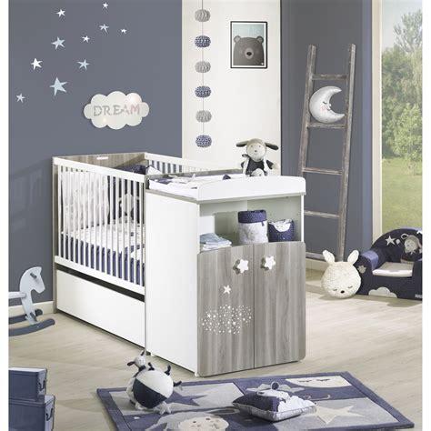 chambre bébé alibaby hugo lit combiné évolutif 60x120 en 90x190 gris blanc de