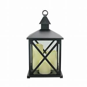 12, 5, U0026quot, Black, Candle, Lantern, With, 3, Flameless, Led, Candle, -, Walmart, Com