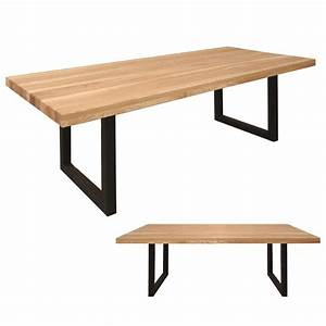 Esstisch esche massiv esszimmer tisch 220 x 100 cm mit for Tisch mit metallgestell