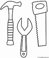 Coloring Labor Saw Wrench Hammer Tools sketch template