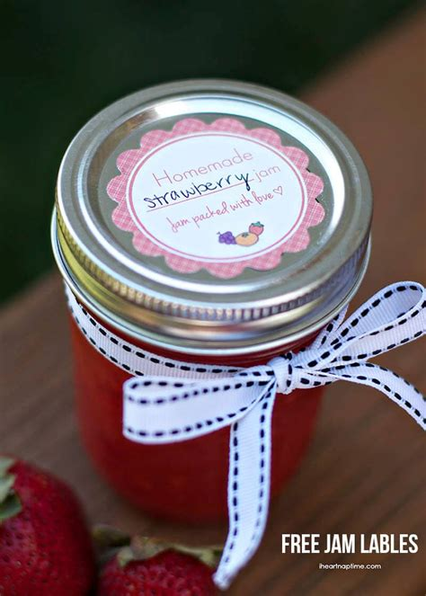 homemade strawberry jam  labels  heart nap time