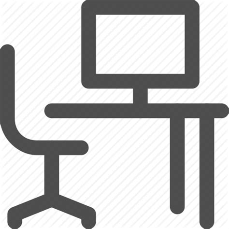 Office Desk Icon by Chair Computer Desk Office Study Table Work Icon