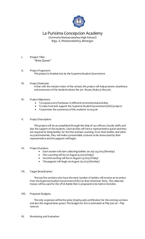 school activity  project proposals maryjoy nazaro