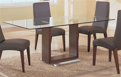 simple rectangle glass top dining tables with wood base