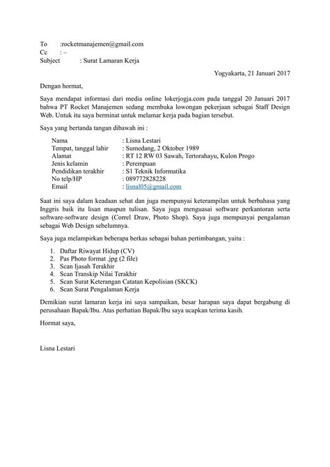 Surat Lamaran Kerja 2017 by Contoh Surat Lamaran Kerja Perusahaan Contoh Ii