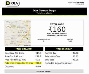 Taxi Bill Format Chennai Ola Cabs Might Just Be Taking Their Customers For A Ride