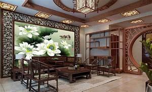 Interior design living room in Chinese retro style