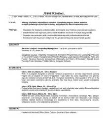 hospitality objectives for resumes exles exle hospitality intern resume free sle