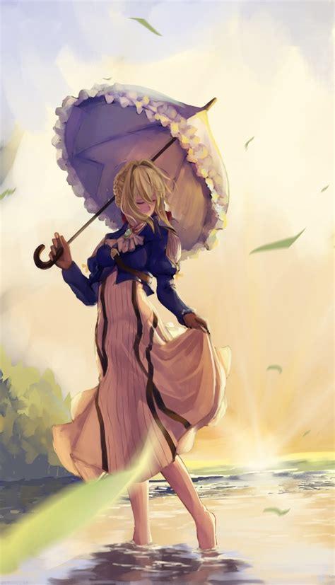 wallpaper violet evergarden umbrella dress blonde