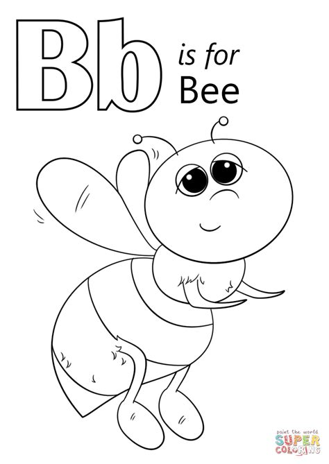 letter b is for bee coloring page free printable 176 | letter b is for bee coloring page