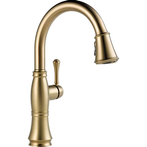 bronze faucets kitchen delta cassidy single handle pull down sprayer kitchen faucet in chagne bronze 9197 cz dst