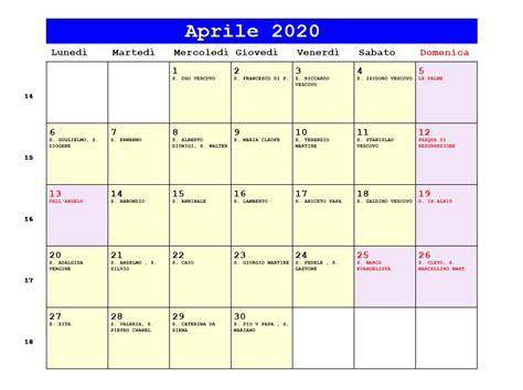 calendario aprile le palme data pasqua