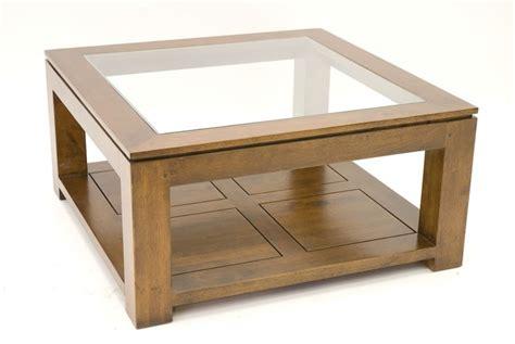 canapé d angle petit format table basse carree en bois massif et verre l80 cm