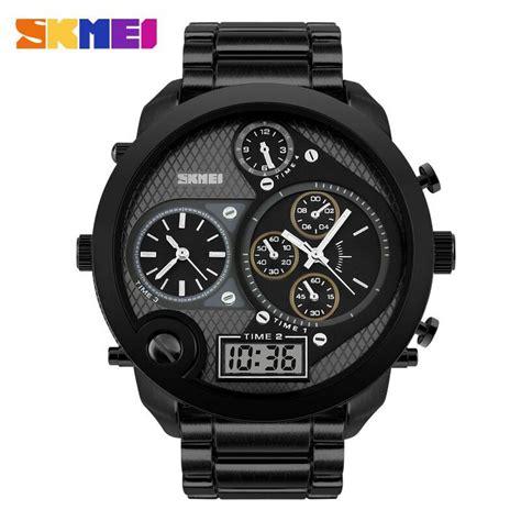 jual jam tangan pria skmei dual time jumbo original