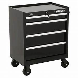 Husky 27 in W 4-Drawer Tool Cabinet, Black-H4TR1R - The