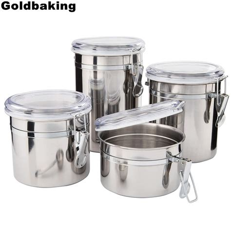 Food Canisters Kitchen by Goldbaking 4 Pieces Kitchen Canisters Stainless Steel