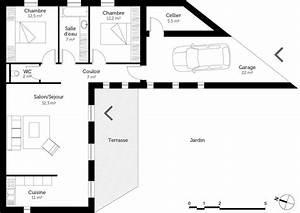 plan maison plain pied avec 2 chambres ooreka With hauteur maison plain pied