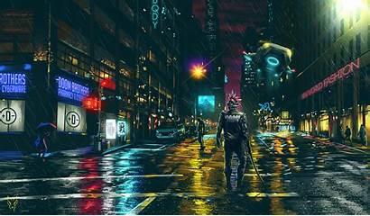 Cyberpunk Dark Night Futuristic Cityscape Science Fiction