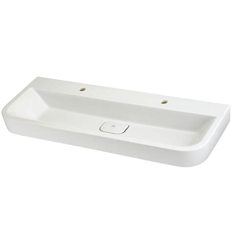 Two Faucet Trough Bathroom Sink by Bathroom Sinks Lyndon 47 Inch Wall Hung Two Faucet