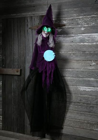 Crystal Ball Witch Animated Plastic Halloween Decor