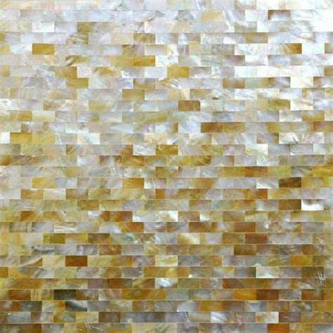 Natural Golden Shell Subway Tiles Mother Of Pearl Mosaic