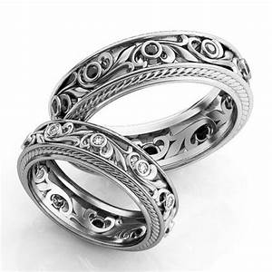 vintage style engagement rings silver wedding ring set With unique his and hers wedding rings