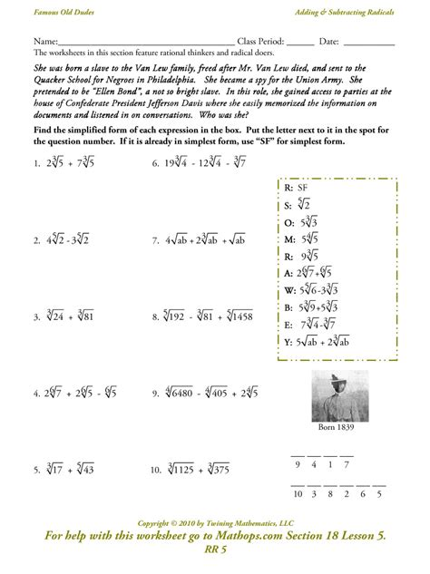 worksheet radicals worksheets worksheet worksheet