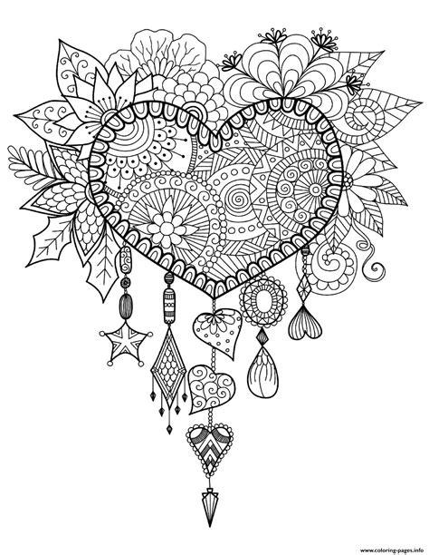 print adult dreams catcher heart mandala zen coloring