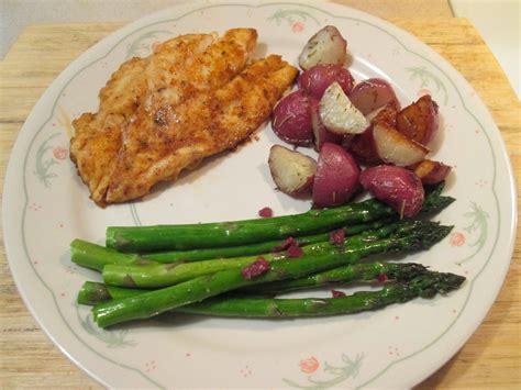 grouper roasted asparagus skillet blackened iron potatoes diab2cook cast
