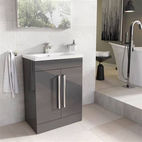newton anthracite grey bathroom standing vanity sink unit