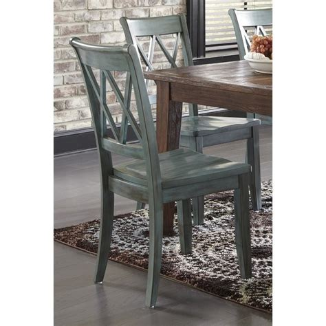 mestler dining chair in antique blue and green